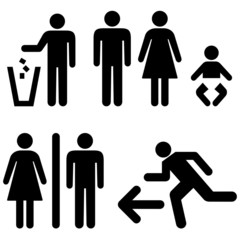People icon set, garbage sign, emergency sign