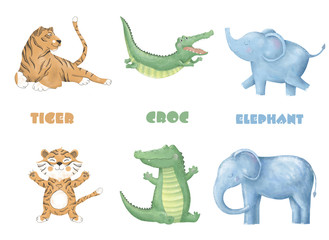 crocodile tiger elephant digital clip art cute animal and flowers for card, posters, on white background