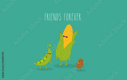 This is vector illustrations  Funny corn, beans, peas are