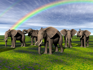 Elefantenherde in der Steppe