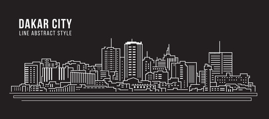 Cityscape Building Line art Vector Illustration design - Dakar city