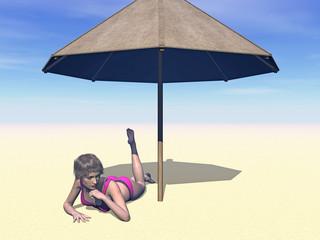 Strandurlaub unter dem Sonnenschirm