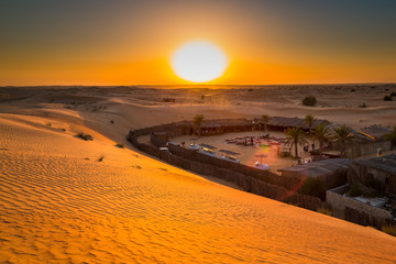 Camp in the Desert. Beautiful exposure done in the desert with its colorful red color over sunset over the sands dunes