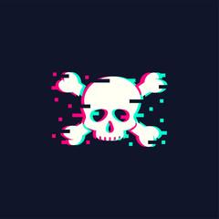 Skull illustration in trendy glitch style