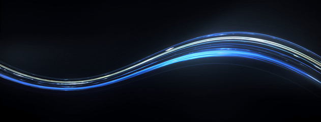 Colorful Light and stripes moving fast along a curved trajectory over dark background. Concept illustration