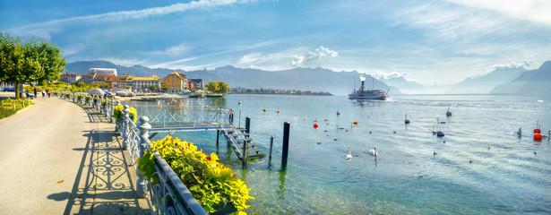 Wall Mural - Promenade and view of Geneva Lake in Vevey town. Vaud canton, Switzerland