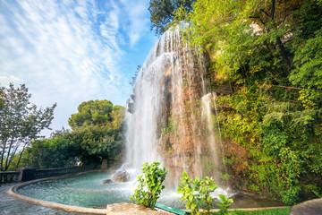 Waterfall in Parc de la Colline du Chateau. Nice, Cote d'Azur, France Wall mural
