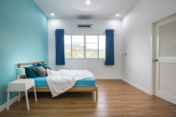 Blue bedroom interior design.