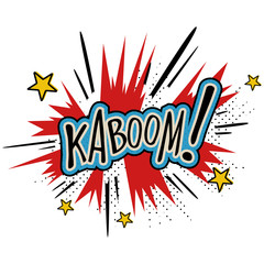 "Comic sound effect cartoon expression with text ""Kaboom!"". Bubble speech in retro pop art style. Vector illustration."