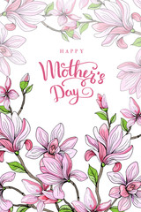 Happy mother's day. Greeting card with mother's day. Floral background. Vector illustration.