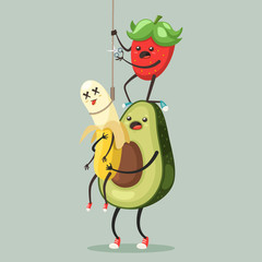 Suicide prevention concept illustration. Avocado and strawberry cut knot and save banana from death vector cartoon fruits characters isolated on background.