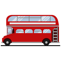 Red double-decker London bus. Vector flat icon of city tourist transport of the UK isolated on white background.