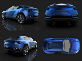 The newest sports all-wheel drive blue premium crossover in a black studio with a reflective floor. 3d rendering.