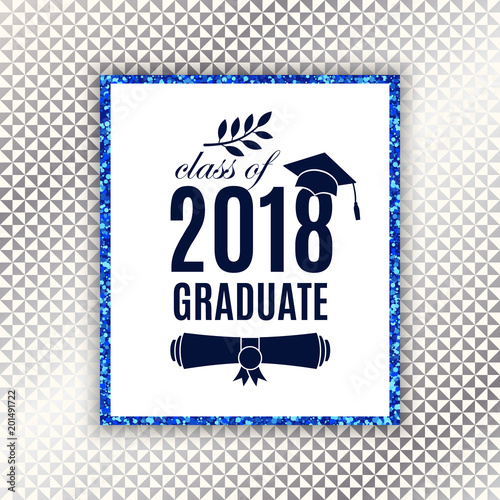 Class of 2018 graduate poster with hat scroll laurel on seamless class of 2018 graduate poster with hat scroll laurel on seamless triangle background with stopboris Gallery