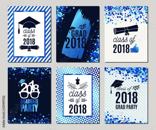 Graduation class of 2018 blue glitter greeting cards set vector graduation class of 2018 blue glitter greeting cards set vector party invitations grad posters stopboris Image collections