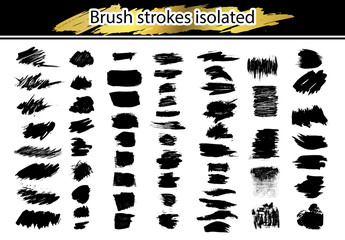 Large set different grunge brush strokes. Dirty artistic design elements isolated on white background. Black ink vector brush strokes. Black isolated paintbrush collection. Brush strokes isolated.