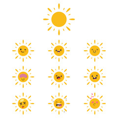 Cute sun icon set. Vector cartoon funny character with different kawaii emotions isolated on a white background.