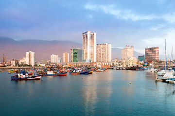 Skyline of downtown and marina of Iquique from the port, Chile.