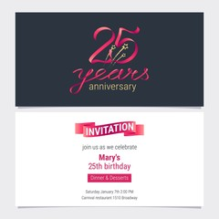 25 years anniversary invite vector illustration