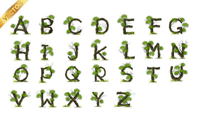 Collection  Letter A B C vector alphabet with tree . ABC concept type as logo.Eco concept.