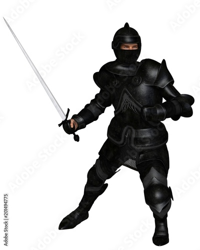 """Black Knight in Medieval Armour, Attacking - fantasy illustration"" Stock photo and royalty-free images on Fotolia.com - Pic 201494775"