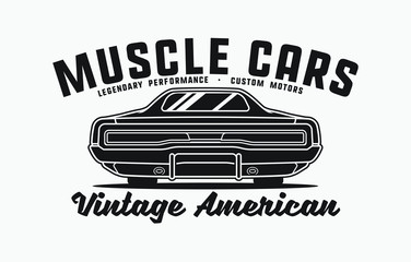 Monochrome American muscle cars label. Vector illustration for print on t-shirt.