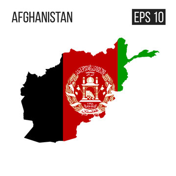 Afghanistan map border with flag vector EPS10