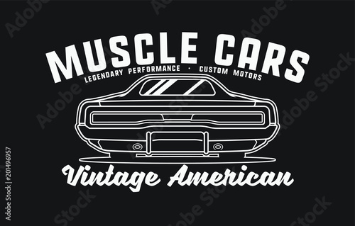 cf0c2d31 Monochrome American muscle cars label. Vector illustration for print on  t-shirt.