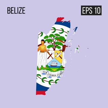 Belize map border with flag vector EPS10