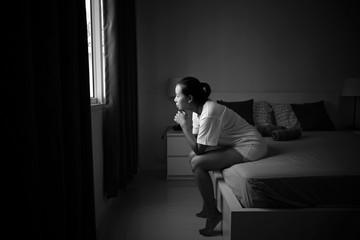 Women in sad emotion