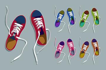 Sneakers drawing set.