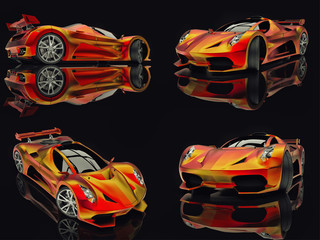 Set racing concept car. Image of a car on a black glossy background. 3d rendering.