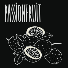 Isolate ripe passion fruit as chalk on blackboard. Close up clipart in chalkboard style. Hand drawn icon