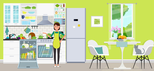 A woman in the kitchen with a dishwasher and without. Vector flat illustration.