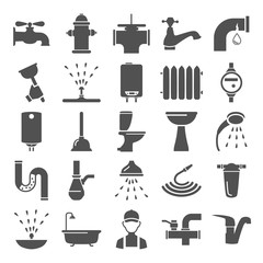 Water pipes simple icons set for web and mobile design