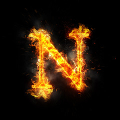 Fire letter N of burning flame.