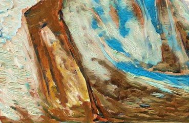 Abstract painting texture background. Drawing in oil part of painting.