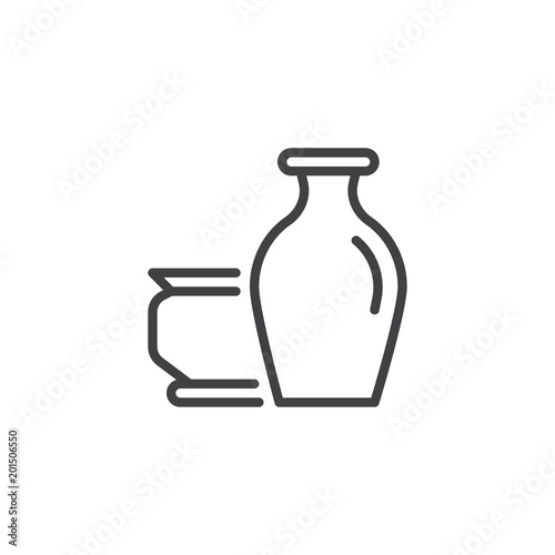 Antique Vases Outline Icon Linear Style Sign For Mobile Concept And