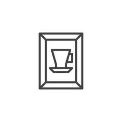 Art gallery cup picture outline icon. linear style sign for mobile concept and web design. Painting by the artist simple line vector icon. Symbol, logo illustration. Pixel perfect vector graphics