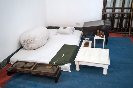 ascetic living conditions of Mahatma Gandhi in the house of the Museum