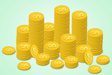 Set of isometric money. Golden coins and paper. A lot of cash money.