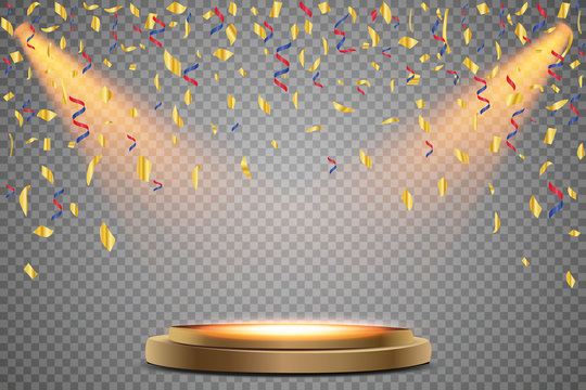 Stand of the podium with lighting, Scene from the award ceremony on a transparent background, with falling confetti. Vector illustration.