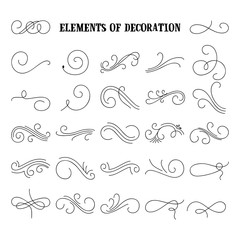 Set of hand drawn flourish elements. Vector illustration. Elements of decoration.