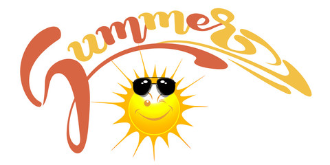 Happy sun with sunglasses. Summer. Lettering design. Vector illustration