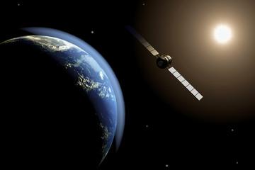 satellite in orbit 3d
