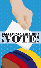 Voter Making a Vote inside Electoral Box with Colombian Flag, Vector Illustration