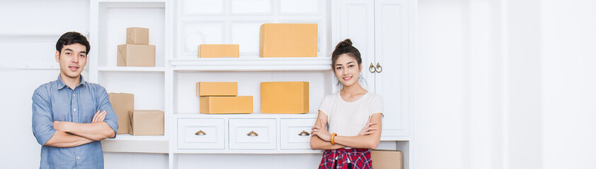 Small business entrepreneur SME, portrait freelance woman man working. Asian small business owner home office, online marketing packing delivery, SME e-commerce telemarketing concept