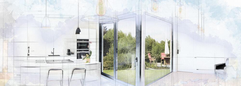 Digital Artwork of a Open modern kitchen from loft