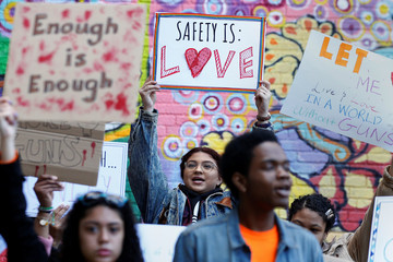 Youths take part in a National School Walkout anti-gun march in New York City