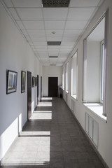 Sunlit office corridor or hall with doors and pictures on the wall